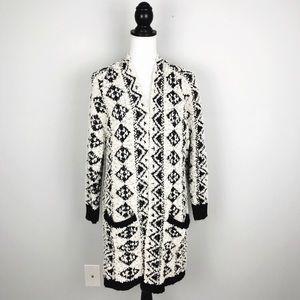 Solitare Aztec Knit Open Fuzzy Cardigan